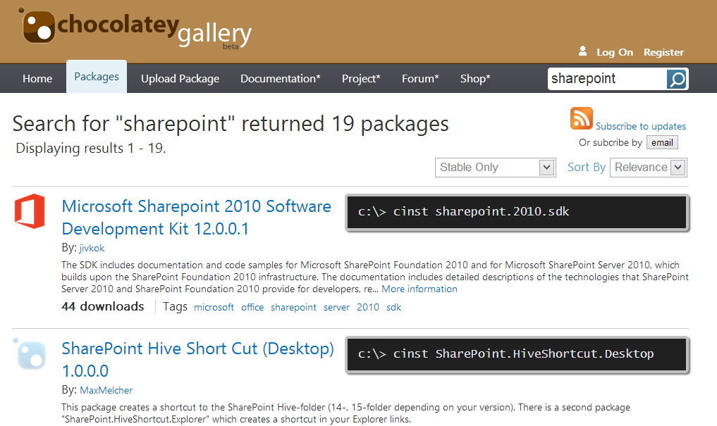 19 SharePoint Packages are installable with 1 line of Powershell