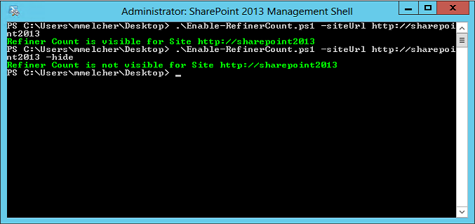 Enable the Refiner Count for SharePoint 2013 - automated with PowerShell